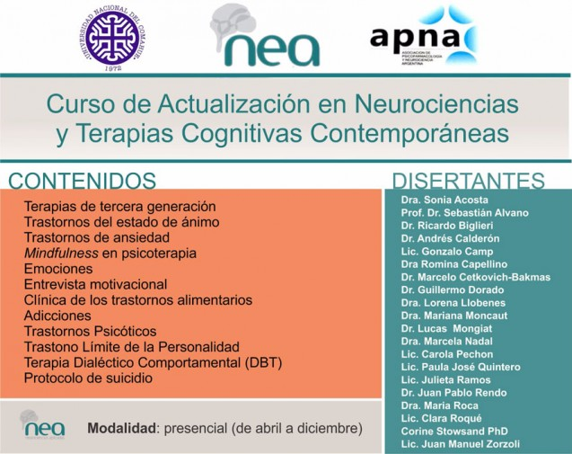 CURSO DE ACTUALIZACIÓN EN NEUROCIENCIAS Y TERAPIAS COGNITIVAS CONTEMPORÁNEAS